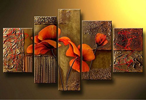 ode-rin-art-hand-painted-oil-painting-gift-red-flowers-5-panels-wood-inside-framed-hanging-wall-deco