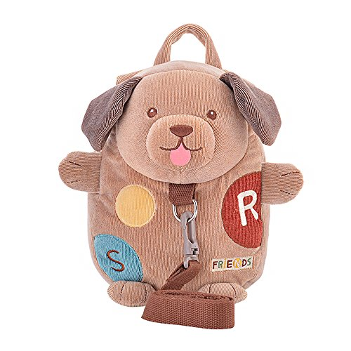 Safety Harness Backpack, JGOO [Travel Light] 2 in 1 Tether & Stuffed Animal Mini Toddler Bag with Detachable Leash, Ultra Lightweight Infant Nursery Daypack, Doggie from JGOO