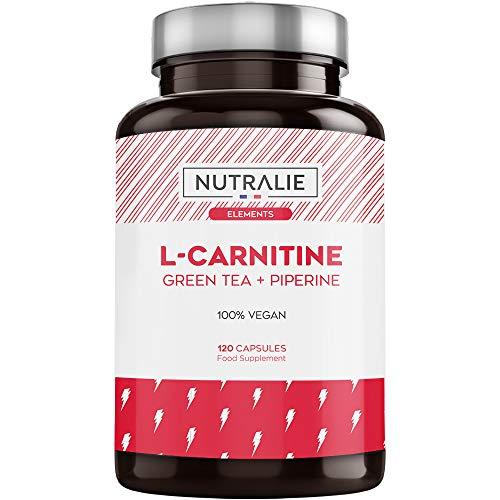 L-Carnitina Pura | Quemagrasas Potente Vegano para Perder Peso con L Carnitina, Te Verde Natural y Pimienta Negra | 120 Capsulas Veganas Nutralie
