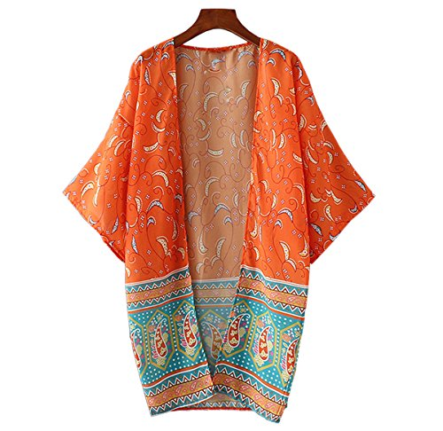 JAKY GLOBAL Women Flowy Sheer Long Chiffon Kimono Cardigan Swimsuit Beach Cover Up (CS-8342-Orange)
