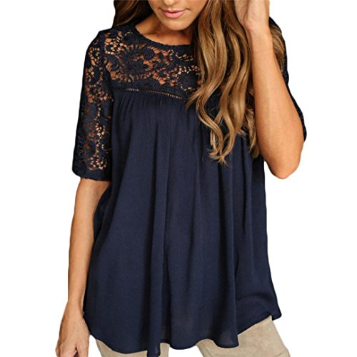 Wintialy Sexy Women Summer Tops Lace Hollow Solid Short Sleeve Blouse Tank T-Shirt (Sleeve Top Navy Seamless Short)