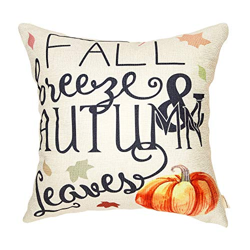 Fahrendom Fall Breeze Autumn Leaves Pumpkin Seasonal Quote Thanksgiving Day Gift Cotton Linen Home Decorative Throw Pillow Case Cushion Cover Words Sofa Couch 18 x 18 in