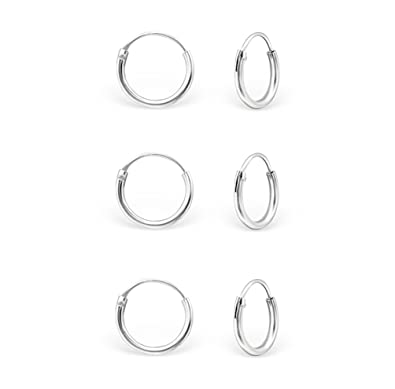 DTPSilver - 925 Sterling Silver Tiny Hoops Earrings - Thickness 1.2 mm - Diameter 10 mm I1Y4K