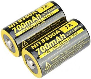 2 Baterias Nitecore Imr 18350 Ni18350a 700mah 7a 3.7v