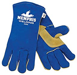 MCR Safety 4500XXL 13-Inch Memphis Split Cow Leather Welder Men\'s Gloves with Self Hemmed Cuff, Blue, 2X-Large, 1-Pair