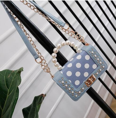 Bag Bag Bag Satin Black Handle Handbag Pearl Rivets Packet Small Chain Point Tide Olici Square Crossbody Wave Fashion qtBaHB