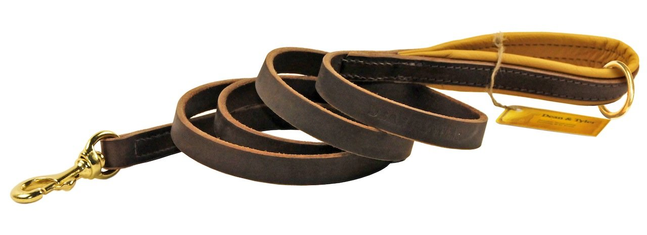 Dean & Tyler Soft Touch Brown Padding Dog Leash with Brown Ring on Handle and Solid Brass Snap Hook, 2-Feet by 3 4-Inch