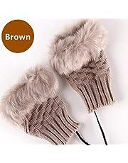 1 Pair 2 Pack DECVO Winter Powered Warmer Thicken Fingerless USB Heated Gloves Plush Warm Cold-Proof Knitted Half Finger Laptop Mittens USB Warm Gloves for Women Teen Girls Best Winter Gift (Brown)