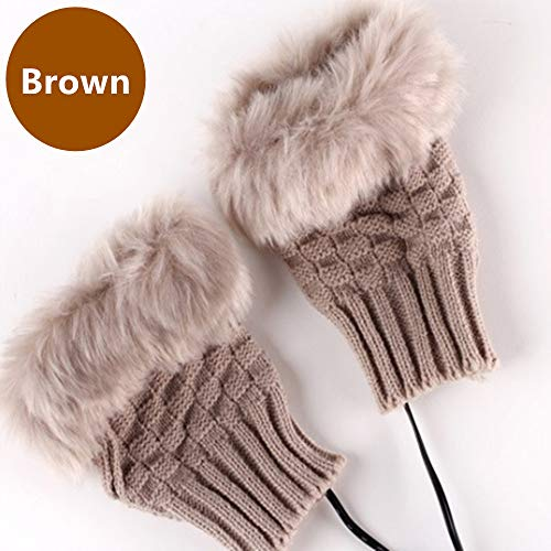 1 Pair 2 Pack DECVO Winter Powered Warmer Thicken Fingerless USB Heated Gloves Plush Warm Cold-Proof Knitted Half Finger Laptop Mittens USB Warm Gloves for Women Teen Girls Best Winter Gift (Brown)