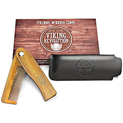 BEST DEAL Folding Beard Comb w/Carrying Pouch for Men - All Natural Wooden Beard Comb w/Gift Box - Green Sandalwood Comb for Grooming & Combing Hair, Beards and Mustaches by Viking Revolution
