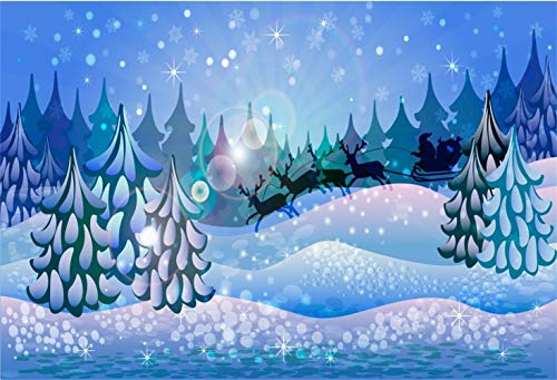 Laeacco Cartoon Christmas Backdrop Vinyl 10x6.5ft Snowy Forest Frosty Pine Trees Santa Claus Driving The Reindeers Bokeh Haloes Background Child Kids Baby Portrait Shoot New Year Xmas Party Banner