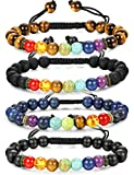LOLIAS 1-4 Pcs Natural Stone Chakra Bracelet for Men Women Aromatherapy Diffuser Yoga Healing Bracelets Adjustable