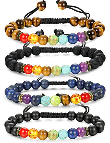 LOLIAS 1-4 Pcs Natural Stone Chakra Bracelet for Men Women Aromatherapy Diffuser Yoga Healing Bracelets Adjustable