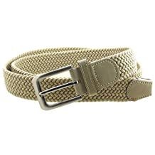 Mens Braided Elastic Stretch Belt Leather Tipped End and Silver Metal Buckle (Beige-L)