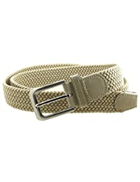 Mens Braided Elastic Stretch Belt Leather Tipped End and Silver Metal Buckle (Beige-XL)