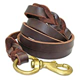 Beirui Braided Leather 6ft Dog Leash - 3/4 inch Heavy Duty Brown Training Lead