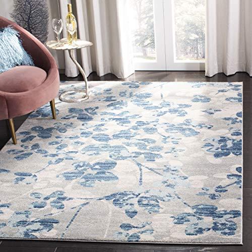 Safavieh Evoke Collection EVK236J Vintage Floral Grey and Light Blue Area Rug (4' x 6')