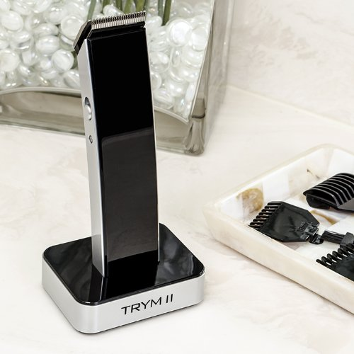 TRYM II - The Rechargeable Modern Hair Clipper Kit - Ultra-sleek Hair, Body, Mustache, and Beard Trimmer Looks Great in Any Bathroom - AC Adapter, Base Dock, and Trimming Attachments Included