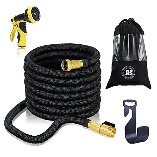 XpandaHose 75ft Expandable Water Garden Hose with Holder – Heavy Duty Triple Layered Latex Core and Free 10 Spray Nozzle with Storage Bag – Light Weight Flexible and Solid Brass Ends