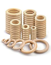100Pcs Wooden Rings, Macrame Wooden Rings, Natural Unfinished Solid Wood Rings for DIY Handmade Decorations, Bracelet Necklace, 6 Sizes