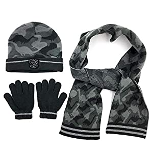 accsa Kid Boy Beanie Camo Reflective Knit Hat Gloves Scarf Set