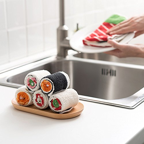 Sushi Rolls Microfiber Cleaning Cloth Washing Dish Towels by Freelove,Beef / Shrimp / Crab Stick,6 Packs (8'' by 13''3/4) by FREELOVE