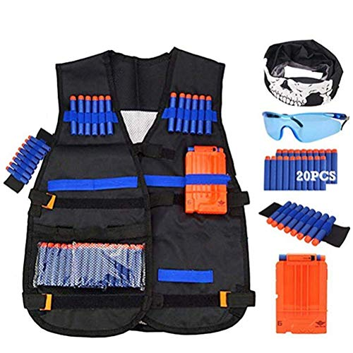 Firepower Mask Tactical Airsoft (Cha Long Children Tactical Vest Kit Adjustable Tactical Vest Jacket Game Tactical Vest Compatible with Refill Darts,Tactical Mask,Wrist Band and Protective Glasses)