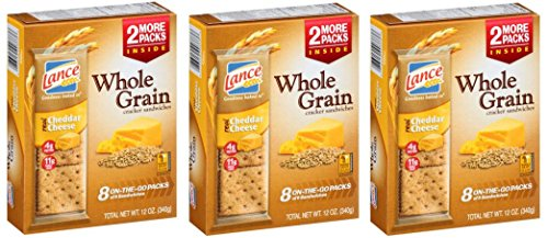Cheddar Cheese Real (Lance Whole Grain Cheddar Cheese Crackers - 3 Boxes of 8 Individual Packs)