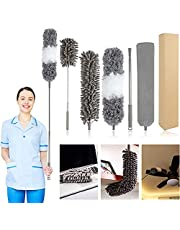 WOVTE 5PCS Microfiber Duster with 30 to 100 Inch Stainless Steel Extension Pole, Telescopic Bendable Duster with Detachable Brush, Washable Dusters for Cleaning, Ceiling Fan, Blinds, Car, Furniture