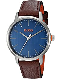 Mens Copenhagen Quartz Stainless Steel and Leather Casual Watch, Color:Brown (. Hugo Boss