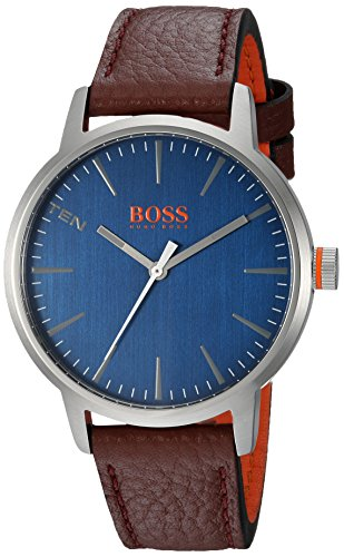 HUGO BOSS Men's 'COPENHAGEN' Quartz Stainless Steel and Leather Casual Watch, Color:Brown (Model: 1550057)