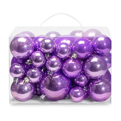 AMS Christmas Ball Plating Ornaments Tree Collection for Holiday Parties Decoration (40ct Pearl, Light Purple)