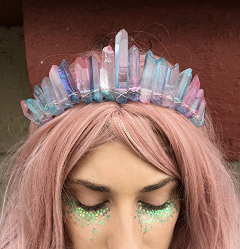 Cotton Candy Goddess Mermaid Crown Quartz Crown by JUDYandMADELEINE