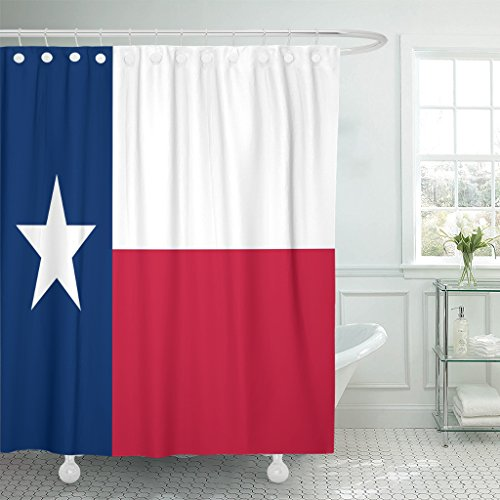 Dallas Stars Drapes (VaryHome Shower Curtain Star of Texas Flag Dallas Cattle Waterproof Polyester Fabric 78 x 72 Inches Set with Hooks)