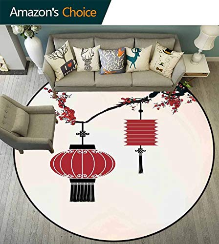 Lantern Round Rug Natural,Chinese Lantern Hang on a Cherry Tree Celebration Flower Oriental Design Artwork Non Slip Absorbent,Black Red,D-59