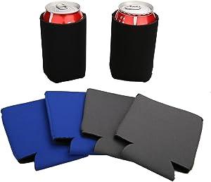 E-Living 330ML (12 OZ) Collapsible Neoprene Can/Beer/Bottle/Beverage Cooler/Coolie/Cover/Insulator/Holder/Huggie/Sleeve for Cola/Beer/Soda - 6 Pack (Multi - 3)