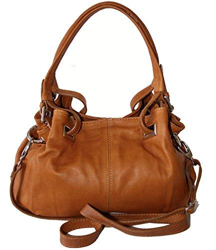 Sa-Lucca echt Leder Handtasche Damentasche 2508 Henkeltasche, Schultertasche, Tasche Ledertasche cognac MADE IN ITALY
