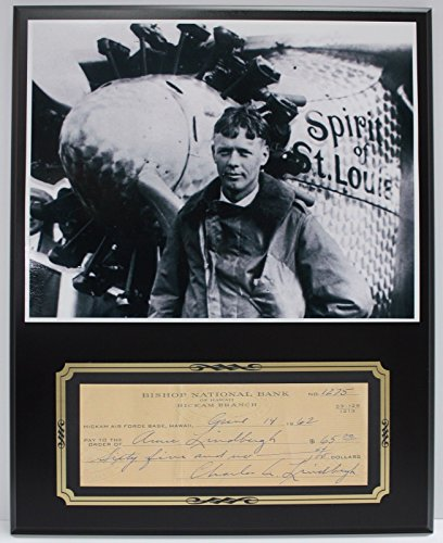 Charles Lindbergh Aviation Reproduction Signed Limited Edition Check Display
