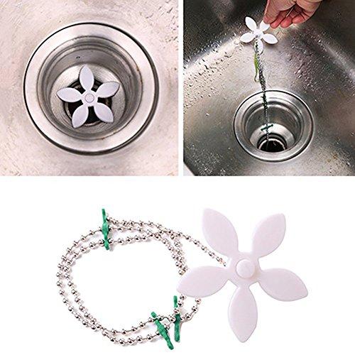 (Kitchen Bathroom Shower Drain Sink Hair Catcher Drain Clog Cleaning Trash Remover Grab Sink Filter Chain Hair Sweep Catcher)