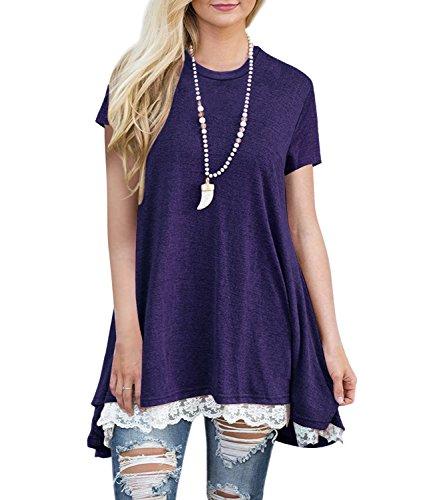 Angerella Womens Cute Short Sleeve A Line Loose Summer Tunic Tops Purple,S