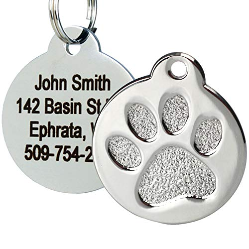 - GoTags Paw Print Round Stainless Steel Pet ID Tag for Dogs and Cats, Personalized, Engraved with up to 4 Lines of Custom Text, (Paw Size Small)