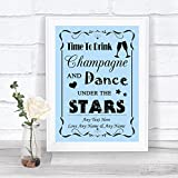Blue Drink Champagne Dance Stars Personalized Wedding Sign