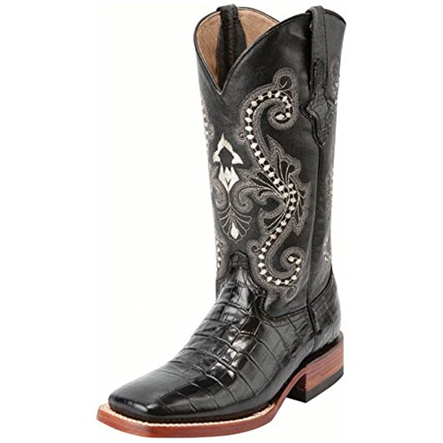 Ferrini Women's Print Alligator S-Toe Western Boot,Black,6.5 B US by Ferrini