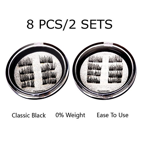 8x 16PCS False Magnetic Eyelashes Best Fake Eye Lashes Magnet - Dual Magnets Silk Eyelash Extensions - Natural Look | No Glue, Reusable (black)