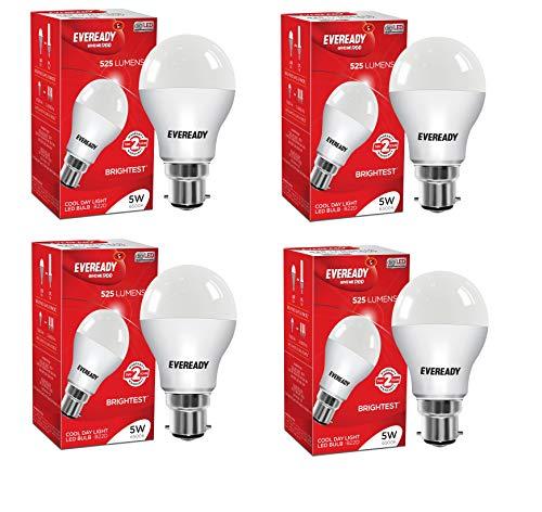 Eveready Round Base B22 5 Watt LED Bulb  Pack of 4, White