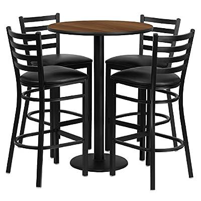 Flash Furniture 30'' Round Walnut Laminate Table Set with 4 Ladder Back Metal Bar Stools - Black Vinyl Seat [RSRB1024-GG]