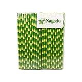 Paquete de 200 popotes de papel ecologicos diseño de bamboo biodegradables de 20 cm, ideales para el uso diario, fiestas, reuniones; Grado alimenticio