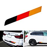 """iJDMTOY (1) 17""""x2"""" Reflective Germany Flag Stripe Decal Sticker For Audi BMW Mercedes MINI Porsche Volkswagen Exterior Cosmetic, Such As Trunk, Side Skirt, Bumper, etc"""
