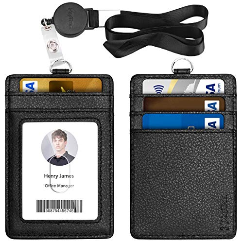 Lanyard with ID Badge Holder, PU Leather with 1 Clear Window & 4 Card Slot and 20 inch Polyester Lanyard with Retractable Badge Reel for Offices ID, School ID, Driver Licence