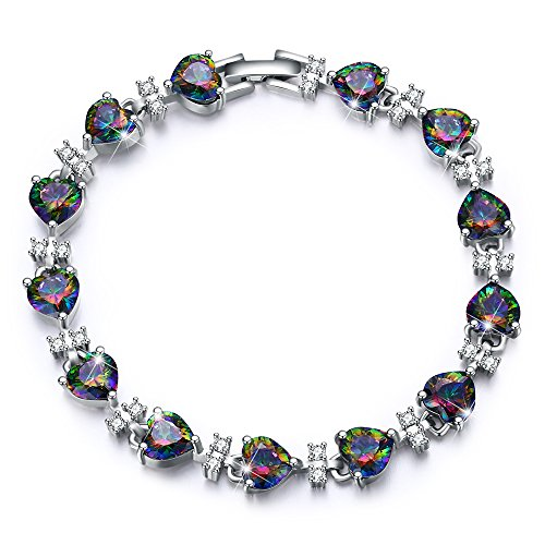 celet Fashion Jewelry for Women Black Tennis Heart Bracelet for Girls Sparkle Prom Jewelry Anniversary 30th Birthday Gifts for Women Her Mom Wife Little Teen New Girls Daughter ()